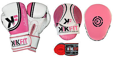 KIKFIT Pink Womens Focus Pads & Boxing Gloves Set Hook & Jab Mitts MMA Wraps