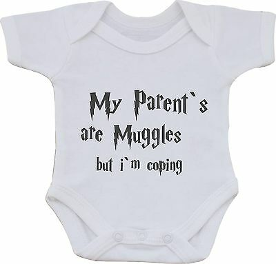 My Parents Are Muggles But Im Coping Harry Potter Funny Cotton Baby Vest Or Bib