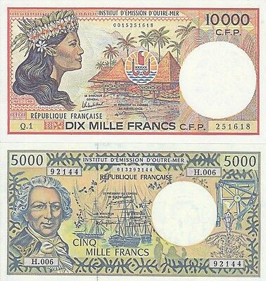 Reproduktions--French  Pacific Territories--10 000 And 5000 Francs--Unc-