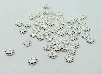 50 Pieces 925 Bali Sterling Silver 4mm Daisy Spacer Beads