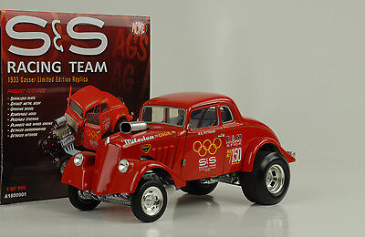 1933 S&S Racing team Willys Gasser Dragster #150 removable Hood 1:18 ACME
