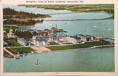 Vintage Postcard Airplane View Naval Academy Annapolis Maryland
