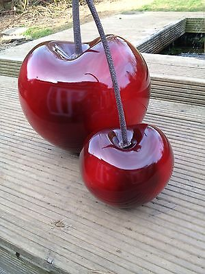 Contemporary cherry ornament, indoor/outdoors, resin, highly polished, unique
