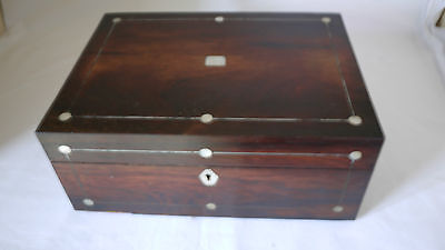 Antique Victorian Rosewood & Mother Of Pearl  Jewellery Work Box For Restoration