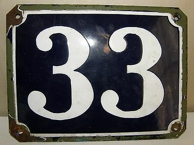Large Antique French House Number 33 , Blue Enamel On Steel.