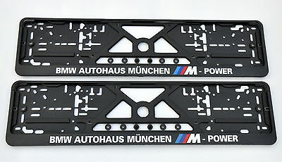 2x CAR LICENCE NUMBER PLATE SURROUNDS HOLDER FRAMES for BMW MUNCHEN M-POWER