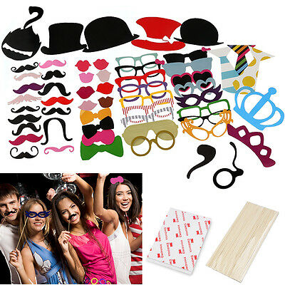 60x Funny Photo Booth Props Mustache Mask Party Birthday Christmas Wedding Favor