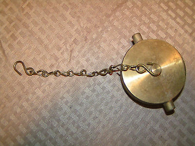 """2-1/2"""" Male NST Fire Hose or Hydrant Brass Plug with Chain  - Rough Brass Finish"""
