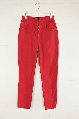 "VINTAGE 90s RED DENIM JEANS HIGH WAIST MOM TAPERED WOMENS SIZE 6 W26"" L29"""