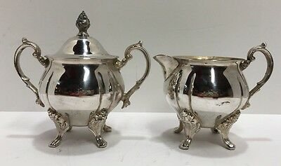 Vintage Silver Plate Footed Sugar Bowl with Lid & Creamer Set - Floral Pattern
