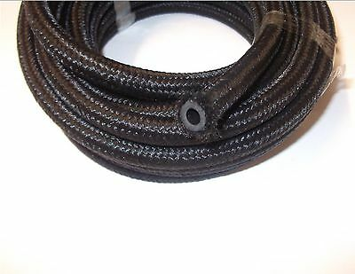 Cotton over braided black rubber fuel pipe hose diesel petrol 3.2, 5, 6, 8,10mm