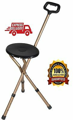 Medical Cane Seat With Walking Stick Adjustable Chair Portable Folding Stool