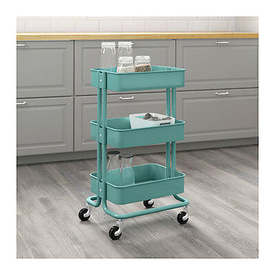 Ikea Raskog Kitchen Trolley- Turquoise (Castors, Shelves, Storage, Bathroom)