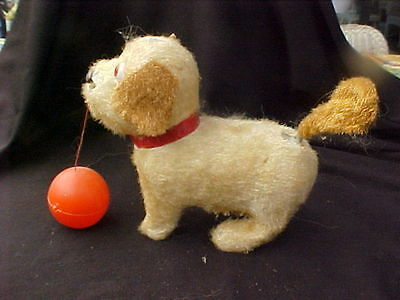 Vintage Antique Wind Up Dog SPINS WITH A BALL with Ball