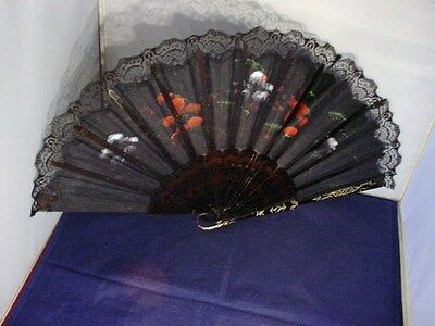 Vintage Handpainted Hand Fan Plastic Fabric Lace Black Floral LOVELY