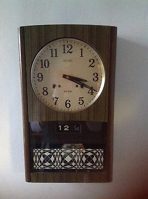 Vintage Seiko Wall Clock 30 Day Date Calendar Chime Retro 1960s Wind Up Working