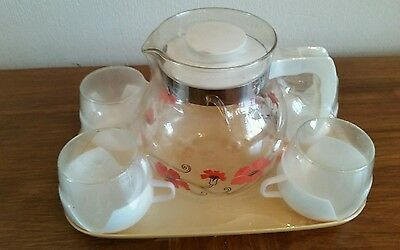 Vintage Jug four cups and tray original seal 1960s 1970s kitsch retro set