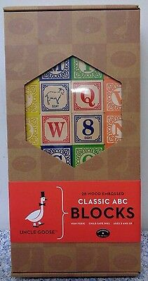 Uncle Goose 28 Wood Embossed Classic ABC Blocks Handmade In USA.  New.