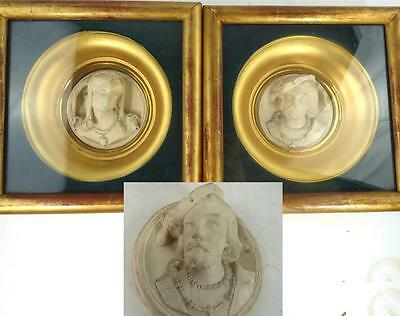 Pair Antique Plaster Relief Portrait Plaques Gilt Mounted Frames