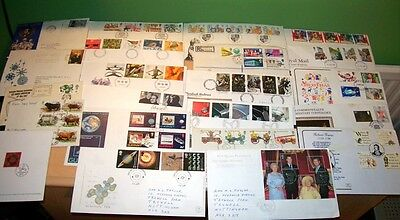 99 Gb Uk British Commemorative First Day Silk Covers & Cards Fdc Job Lot Stamps