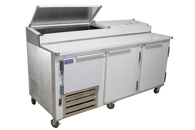 Commercial 2 1/2 Door Refrigerated Pizza Prep Table S.S TOP  72""