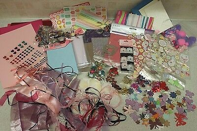 HUGE! Craft BUNDLE Gems Sequins Beads Ribbons Stickers Scrapbook Cards Toppers
