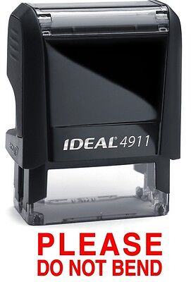 PLEASE DO NOT BEND text on an IDEAL 4911 Self-inking Rubber Stamp with RED INK
