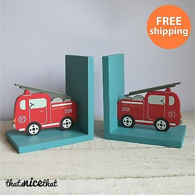 Fire Engine Bookends Wooden Kids Room Boys Childrens Red Bedroom Gift Book Pair