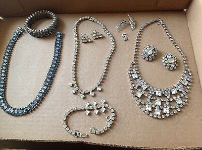 Mixed Lot Rhinestone Clear Blue Sets Necklace Earrings Lovely Costume Jewerly