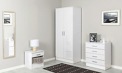 White High Gloss Bedroom Furniture 3 Piece Trio Set Wardrobe, Chest & Bedside