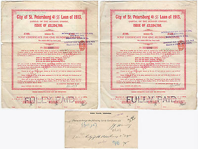 2 City of St Petersburg  Loan 1913 Certificates Russia + Barclays North Walsham