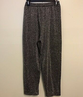 Vintage 80's S Black Metallic Silver High Rise Funky Glam Womens Pull On Pants
