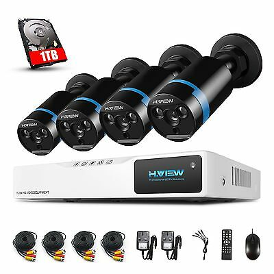 H.view 4CH 1080N AHD HD DVR IR 3000TVL Camera 2.0MP Audio Security System Kit 1T