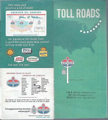 1969 Tourist Map Of National Toll Roads By American Oil Co.