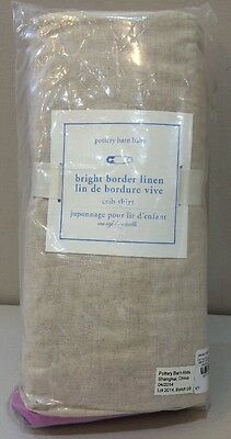 NIP Pottery Barn Kids Baby Liac BRIGHT BORDER LINEN Crib Bed Skirt
