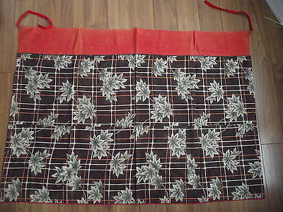 Vtg Japanese Fabric Wall Hanging Curtain Noren leaves brown rust cream green P