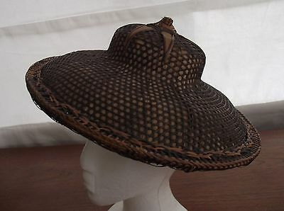 Vintage Asian Woven Hat Bamboo Palm with decorative top  P
