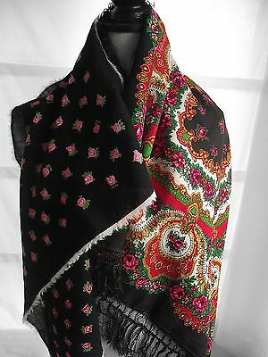 Lot two European floral ethnic boho folk costume fine wool scarves kerchiefs  P