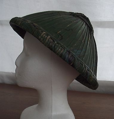 Vintage Asian Woven Bamboo Hat with Green Paint   P