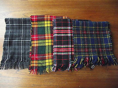 Vintage Scottish plaid tartan wool scarf LOT of 4 (A)  P