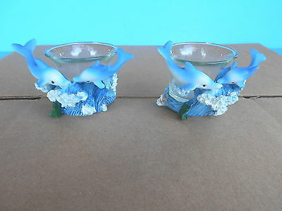 Resin Dolphin Votive Candle Holders Set of 2 Adorable