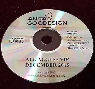 All Access December 2015 Anita Goodesign Embroidery Design CD ONLY $350.00 Value