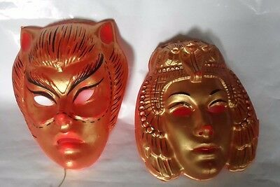 Vintage plastic Halloween mask cat woman and cleopatra 1950's-60's costume