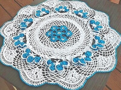 """New Doily Handmade Crochet Butterflies 18"""" 100%cotton White With Turquoise"""