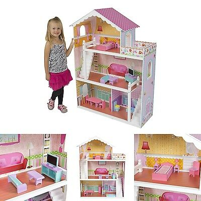 Barbie Doll House With Furniture 3-Story Pink Wooden Dollhouse Girls Playhouse