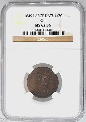 1849 NGC MS 62 Half Cent Brown Large Date C-1 Rare Low Mintage