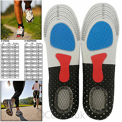 Unisex Orthotic Arch Support Insoles Comfort Sport Shoe Shock Absorb Gel Heel