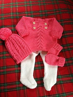 Hand Knitted Set For Reborn Or Baby Girl
