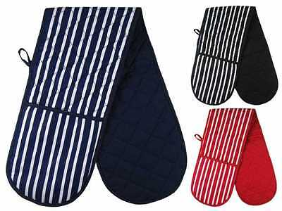 Double Kitchen Oven Mitts Gloves 100% Cotton Blue Red Black Striped Design