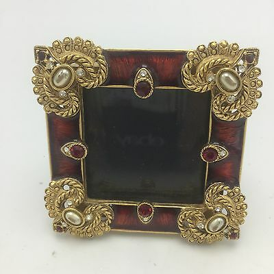 """R. J. Graziano Hand Painted Enamel Jeweled Crystal Picture Frame 3"""" X """""""